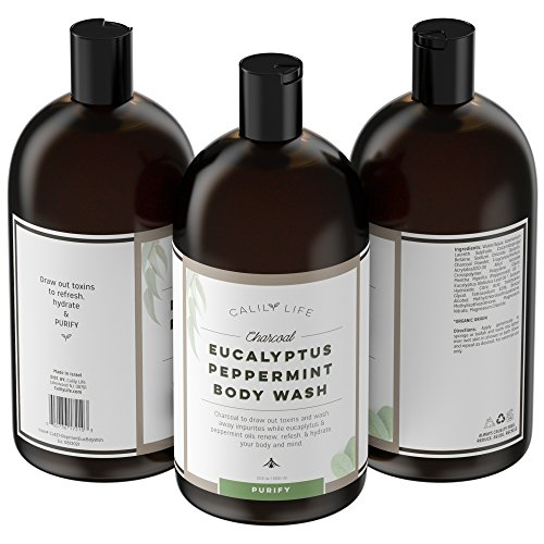 Calily Life Organic Detoxifying Charcoal + Eucalyptus + Peppermint Face and Body Wash, 33. 8 Oz. – Powerful Cleansing and Refreshing + Therapeutic, Invigorating & Relaxing (Body Mint Mint Shower Gel)