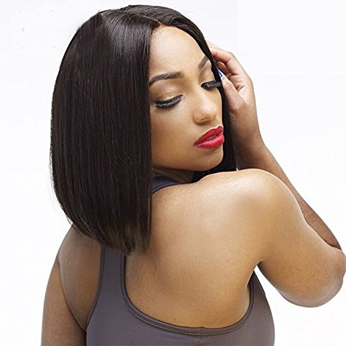 al Human Hair Short Bob Wigs For Black Women 150% Density Peruvian Remy Hair Lace Front Human Hair Wigs Bleached Knots ()