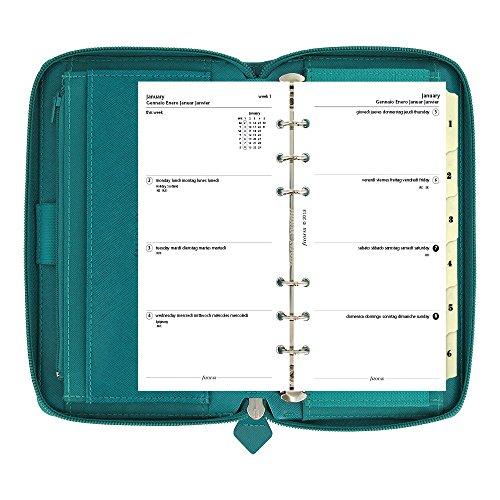 filofax 2017 compact organizer saffiano zip aquamarine