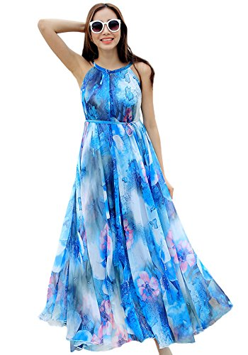 Medeshe Women's Chiffon Floral Holiday Beach Bridesmaid Maxi Dress Sundress (Medium, Blue Floral)