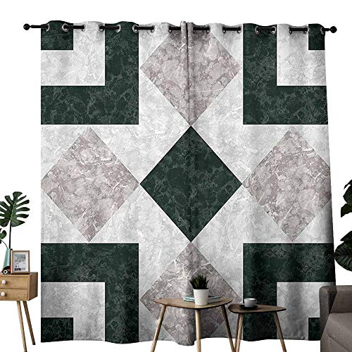 Mannwarehouse Apartment Decor Kids Room Curtains Nostalgic Marble Stone Mosaic Regular Design with Alluring Elements Image Noise Reducing W84 x L108 Pearl