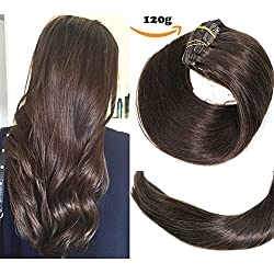 Clip In Hair Extensions Human Hair New Version Thickened Double Weft Brazilian Hair 120g 7pcs Per Set 7A Remy Hair Dark Brown Full Head Silky Straight 100% Human Hair Clip In Extensions(20 Inch #2)