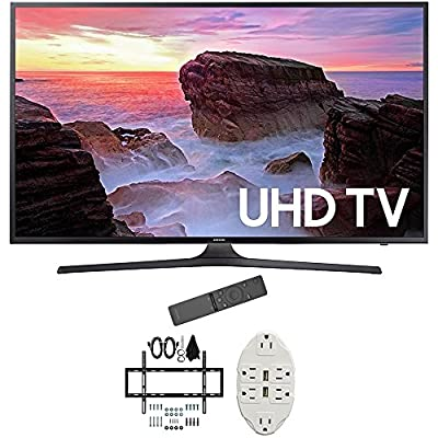"Samsung 40"" 4K Ultra HD Smart LED TV 2017 Model (UN40MU6300FXZA) with Deco Mount Slim Flat Wall Mount Ultimate Bundle Kit for 32-60 inch TVs & Stanley Transformer Tap USB w/ 6-Outlet"