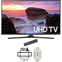 Samsung 50' 4K Ultra HD Smart LED TV 2017 Model (UN50MU6300FXZA) with 2x 6ft High Speed HDMI Cable, Screen Cleaner for LED TVs & Transformer Tap USB w/ 6-Outlet Wall Adapter and 2 Ports