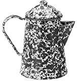 Enamelware Coffee Pot - Black Marble with Grounds Basket/Percolator
