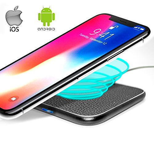 QI Wireless Charging Pad YTech - Wireless Charger Compatible with iPhone X 8 8 Plus-Wireless Charger Android-Wireless Charger Samsung S9 S8 Plus S7 S6 Edge-QI Wireless Charging Station-Black