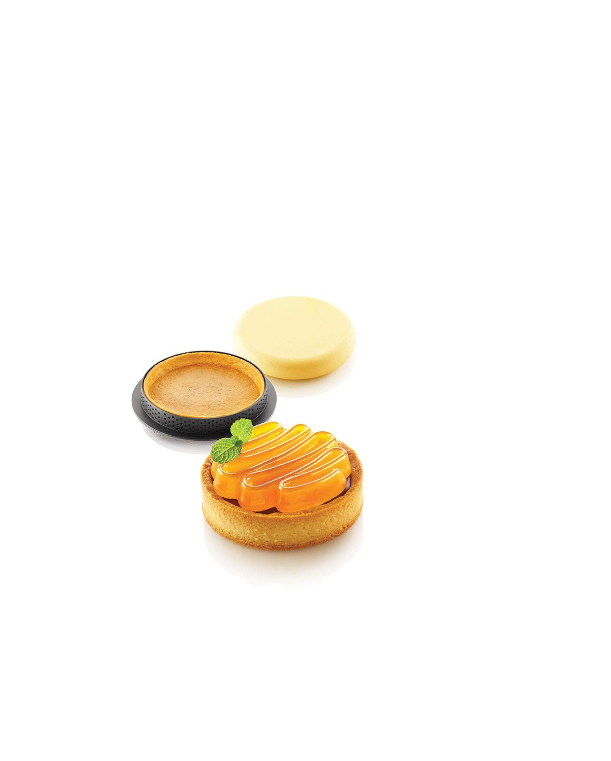 Silikomart''Kit Tarte Ring Honoré 80'' Silicone Mold with 8 Cavities, Each 2.75 Inch Diameter x 0.51 Inch High, Plus 8 Heat-Resistant Perforated Plastic Round Cutting Rings by Silikomart (Image #6)