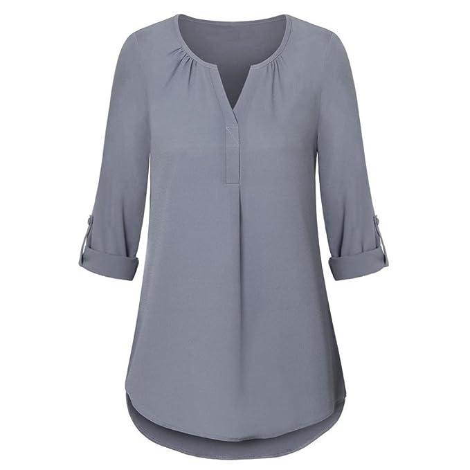 Venmo Damen Roll-up Top Casual V-Ausschnitt Layered Shirt Blusen  Locker Chiffon Bluse Tiefe Langarm Beiläufige Solide Tops Elegant Casual  Oberteil Lose ... f40d84bb16
