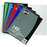 Hilroy 3-Hole Coil Notebook, 1-Subject, Wide Ruled, 10-1/2 X 8-Inch, 70 Sheets/140 Pages, Assorted Colors (5553)