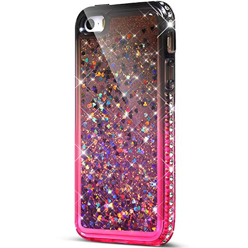 ikasus Case for iPhone 5S 5 / iPhone SE Bling Case,Girls Women Flowing Floating Liquid Quicksand Bling Glitter Sparkle Rhinestone Diamond Bumper Soft Flexible Gradient Color TPU Case Cover,Black Pink