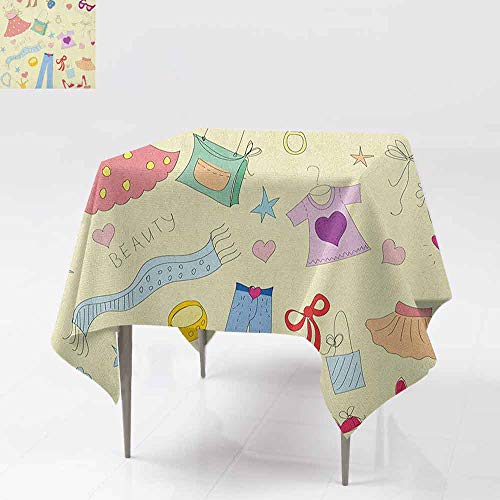 (AndyTours Custom Tablecloth,Heels and Dresses,Shopping Themed Doodle Items Princess Beauty Hearts and Stars Girls Room,Great for Buffet Table, Parties& More,50x50 Inch)