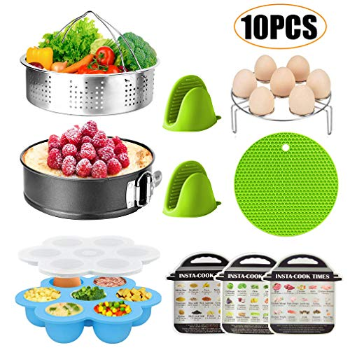 Essieny Pressure Cooker Accessories Set Compatible with Instant Pot 6 Qt 8Qt with Springform Pan, Steaming Basket, Egg Bite Mold, Egg Rack, Magnetic Cheat Sheets, Oven Mitts and Silicone Potholder Mat