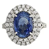 6.31 Carat Natural Blue Ceylon Sapphire and Diamond 14K White Gold Luxury Cocktail Ring for Women