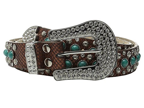 M&F Western Women's Turquoise Stone Snake Belt, Brown, -