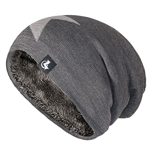 LETHMIK Slouchy Star Long Beanie Warm Fleece Winter Ski Skull Cap Knit Hat for Men & Women Grey Knit Ski