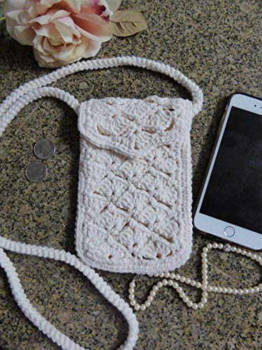 (Off White Crocheted Crossbody Bag. Optional Lining & Credit Card Pocket. Long Cord Strap 55