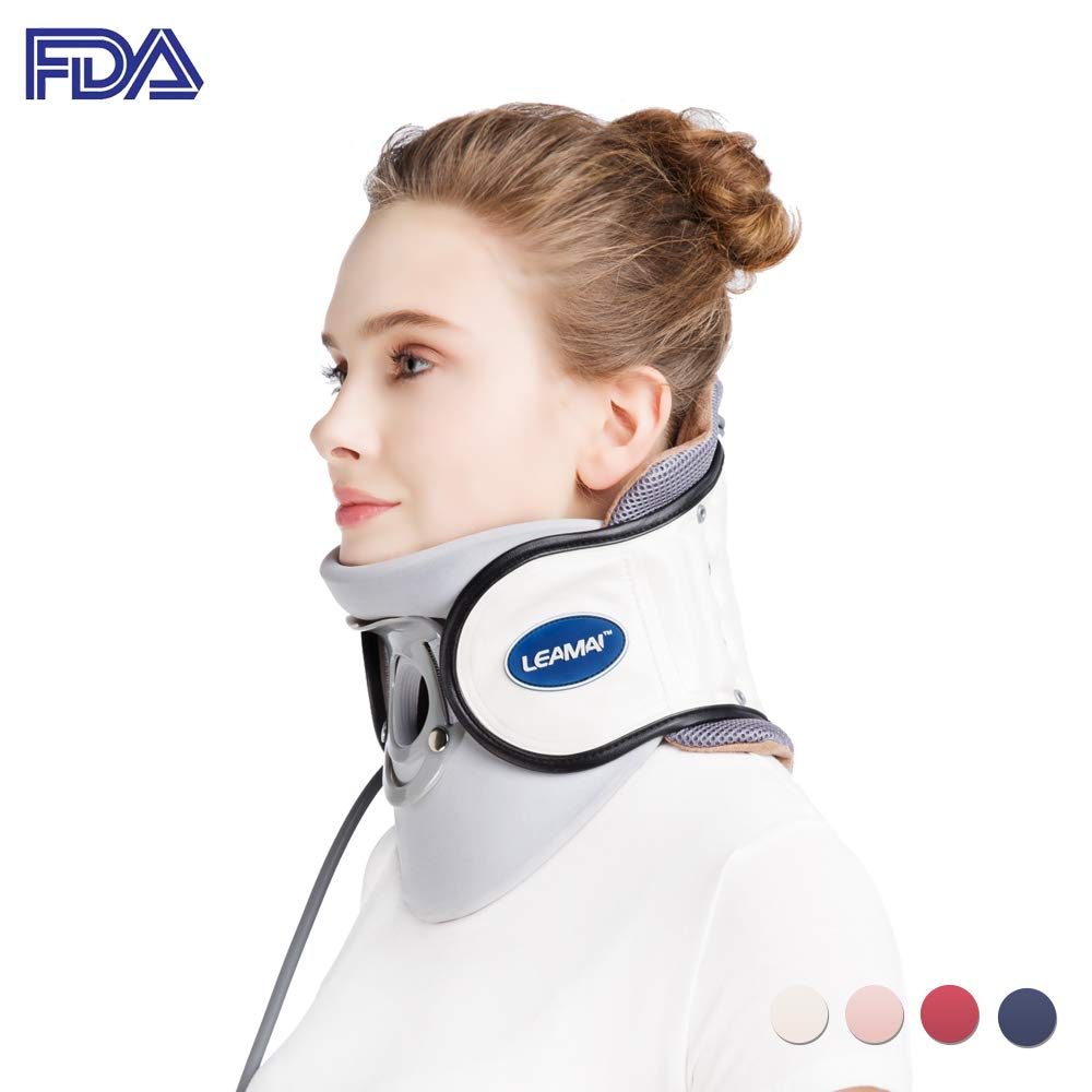 Leamai Standard Cervical Neck Traction Device - Adjustable Neck Stretcher Collar for Home Traction Spine Alignment -(C02,White)