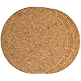 LOHOME Cork Hot Pads, Pack of 3 PCS Round Cork Trivet Heat Resistant Hot Pads Table Cup Mat Coaster (19 cm/7.4 Inch)