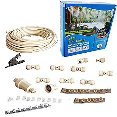mistcooling - Patio Misting Kit Assembly - Make Your own Misting System - Easy to Build and Install - 5 Minute Installation (36Ft - 8 Nozzles)