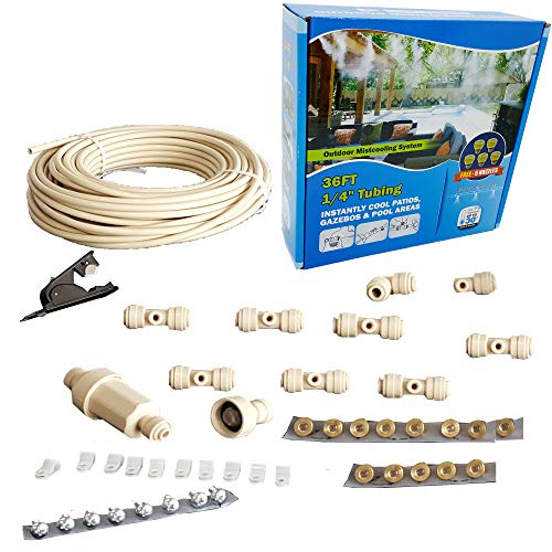 Mistcooling Garage Misting System - with Leak Proof Fittings - Simply Unpack and Attach - Do It Yourself Outdoor Cooling System - for Garage Cooling, Small Warehouse Cooling by Mistcooling