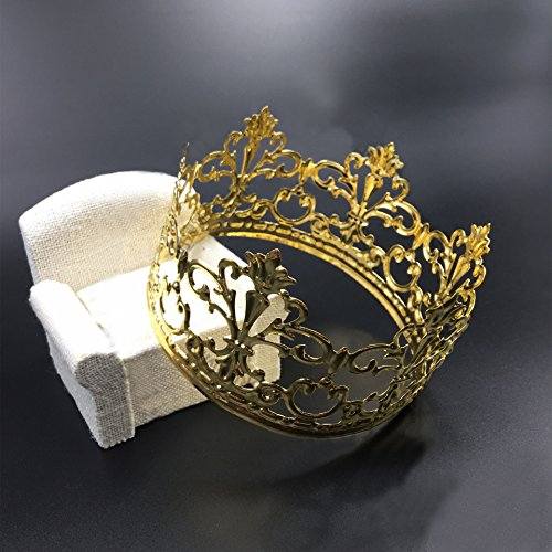 HYOUNINGF Gold Crown Cake Topper Elegant Cake Decoration For King, Queen, Prince And Princess Themed Parties, Royal Birthday Cake Decoration by HYOUNINGF (Image #1)