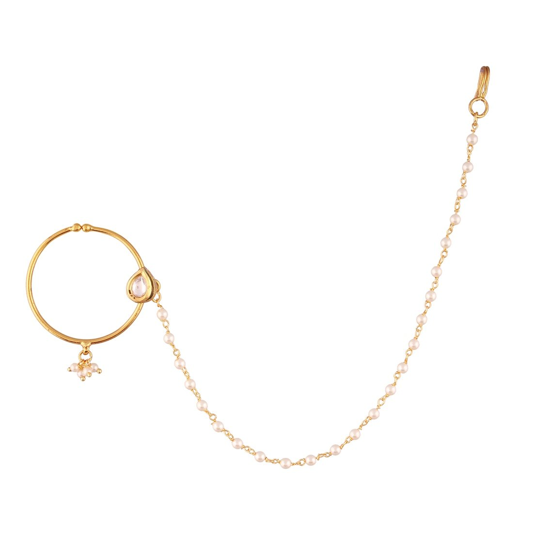 AccessHer Traditional Indian Pink Kundan and Pearl Nose Ring with Chain