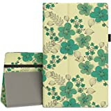 "Vori Case for All-New Amazon Fire HD 10 Tablet (7th Generation, 2017 Release) - Premium PU Leather Slim Fit Smart Stand Cover with Auto Wake / Sleep for Fire HD 10.1"" Tablet, Green Flower"