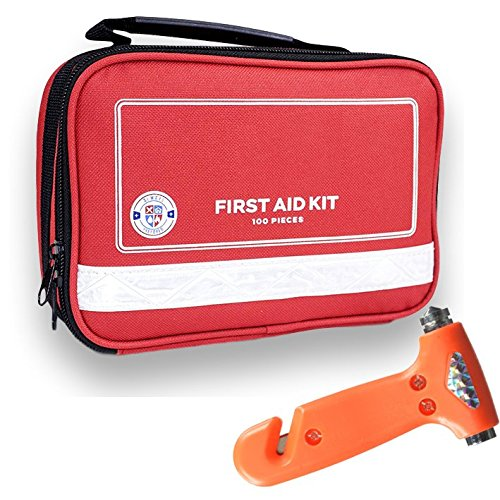 Always Prepared First Aid Medical Kit in Red Fabric Bag with