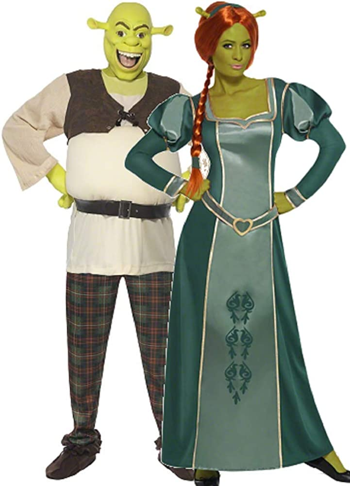 Amazon Com Couples Ladies And Mens Dreamworks Shrek And Fiona Halloween Film Fancy Dress Costumes Outfits Ladies 8 10 Mens Large Green Clothing