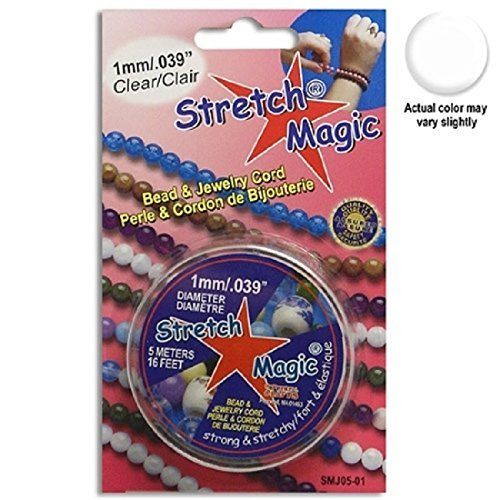 Stretchy Thread Set  Strong and Flexible To Use with Bracelet Necklace 1 mm Choker 0.5mm, 0.7mm, 1mm and 1 Black Stretch Magic Jewelry Making and Beading Cord  3 Clear Beads