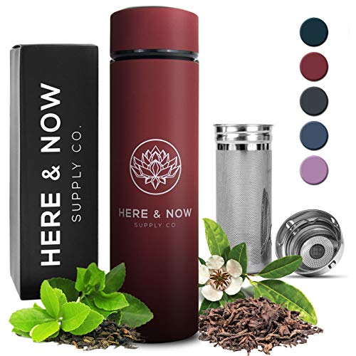 Multi-Purpose Travel Mug and Tumbler | Tea Infuser Water Bottle | Fruit Infused Flask | Hot & Cold Double Wall Stainless Steel Coffee Thermos | EXTRA LONG INFUSER | by Here & Now Supply Co. (Red)