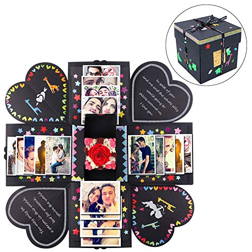 AerWo Creative Explosion Gift Box, Love Memory DIY Photo Album Scrapbooking Explosion Birthday Gift Box Surprise Box for Wedding Engagement - Book Box Make