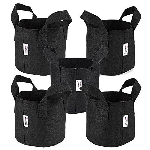 5-Pack 1-Gallon Felt Grow Bags by Luss Custom Reusable Aeration Fabric Pots with Handles (Black)