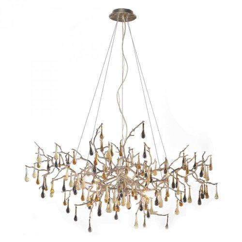 - ELK 1722/8, Bijou Large Blown Glass 1 Tier Chandelier Lighting, 8 Light Halogen, Silver Leaf