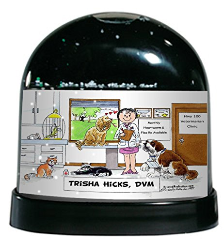 Personalized Friendly Folks Cartoon Caricature Snow Globe Gift: Veterinarian - Female Great for animal hospital, thank you gift, veterinary office