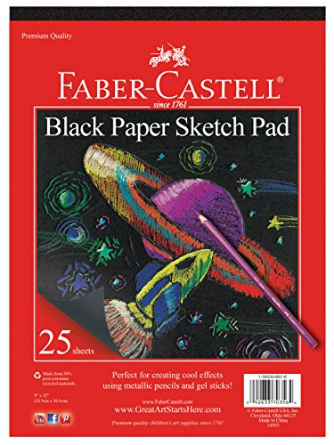 Faber-Castell Black Paper Pad - 25 Sheets of 9' x 12' Paper