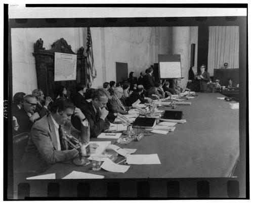 Photo: Senators,Senate Caucus Room,Watergate Hearings,Sam Er