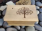 Custom engraved wooden jewelry box with a tree of life image and a tiny heart on top, handmade jewelry box by simplycoolgifts