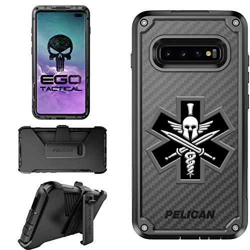 Black Spartan Medic Limited Edition Pelican Shield Case for Samsung Galaxy S10 Plus Designs by Ego Tactical with Ratcheting Belt Clip Holster -