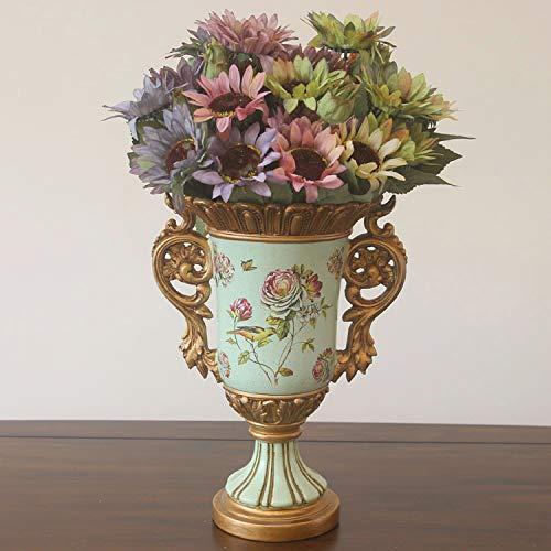Mountain head ヨーロッパのレトロな庭の耳高脚の花瓶アメリカの牧歌的な国の大きな花瓶リビングルーム樹脂装飾品 Mountain head (Size : B) B07QDWZRMW  B