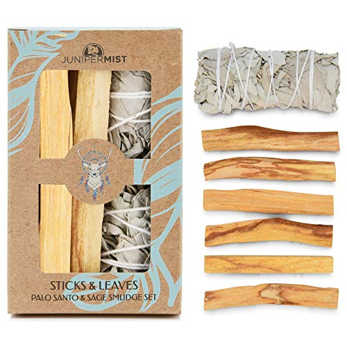 JUNIPERMIST California White Sage Smudge Stick and Premium Palo Santo Sticks: Smudge Kit for Cleansing, Smudging, and Protection (Smudge Incense)