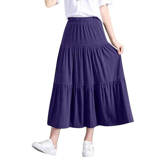 Faldas Mujer Verano Gran tamaño Cintura elástica Joker Falda Falda ...