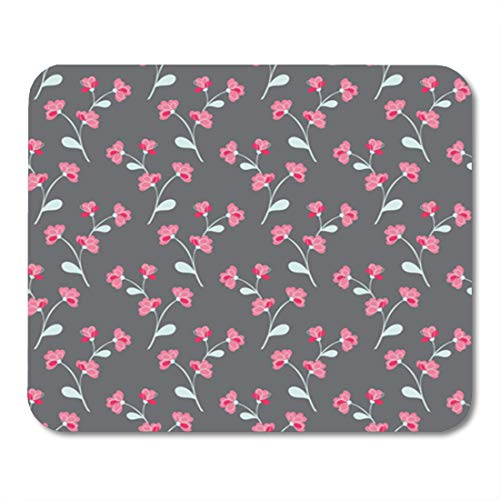 (Semtomn Gaming Mouse Pad Flower Climbing Rose Vine Ornate Pattern Grey Pink Green 9.5