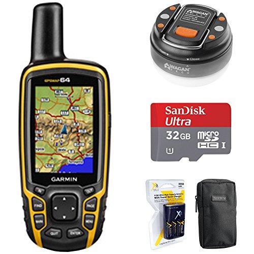 rldwide Handheld GPS Navigator (010-01199-00) + 32GB Memory Card + LED Brite-Nite Dome Lantern Flashlight + Carrying Case + 4X AA Batteries w/Charger ()