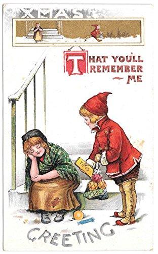 Christmas Postcard Greetings, Toys Food for Poor Child~104068