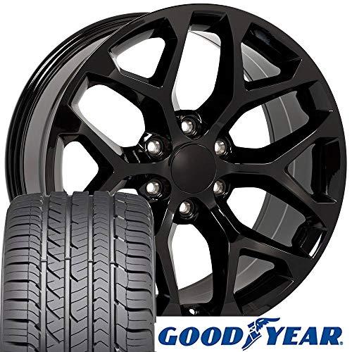 OE Wheels 22 inch Rims Fit Chevy Silverado Tahoe GMC Sierra Yukon Cadillac Escalade 24mm Offset CV98 Snowflake Black 22x9 Rims Goodyear Eagle Sport Tires SET