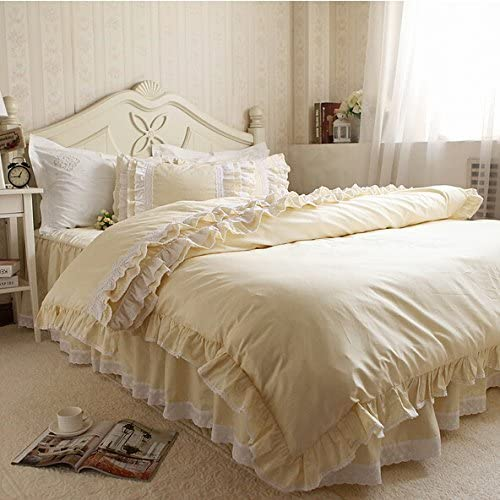 Amazon Com Gorgeous Embroidery Lace Ruffle Light Yellow Duvet Cover Bedding Set 1502 Queen Kitchen Dining