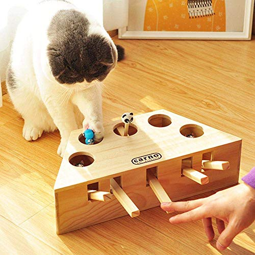 MDBT Interactive Cat Hunt Mouse Toys for Indoor Cats, Wooden Solid Whack a Mole Game Funny Kitten Puzzle Toy, 5 Holes