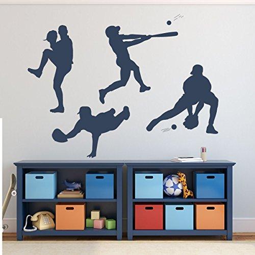 Baseball Player Wall Decal Pitching Catching Diving Batting Boys' Room Vinyl Wall Decor (Baseball Player Wall Decal)