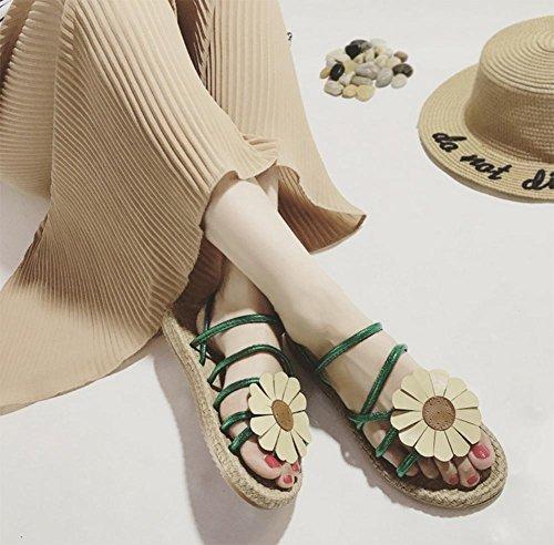 zapatos abiertos de las sandalias planas de los estudiantes sandalias flores Green